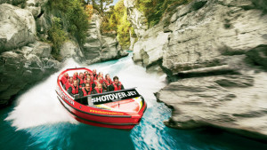 Jet boating at Shotover river New Zealand